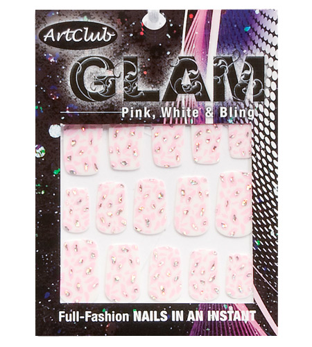 Pink and White Bling Nail